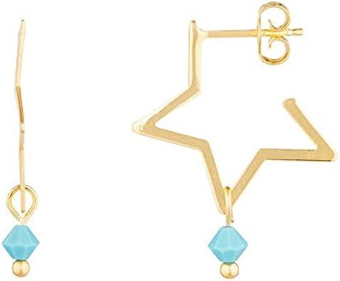 Córdoba Jewels | Pendientes en plata de ley 925 bañada en oro con turquesa con diseño Estrella Turquesa Gold