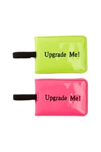 (Miamica Trendy Neon Pink and Yellow Style 2 Piece Luggage Tag Set Upgrade Me)