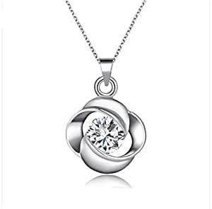 Trendy flower silver pendant necklace for women