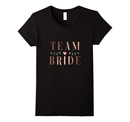 Womens Team Bride T-shirt Bachelorette Party Wedding Shirt Large Black