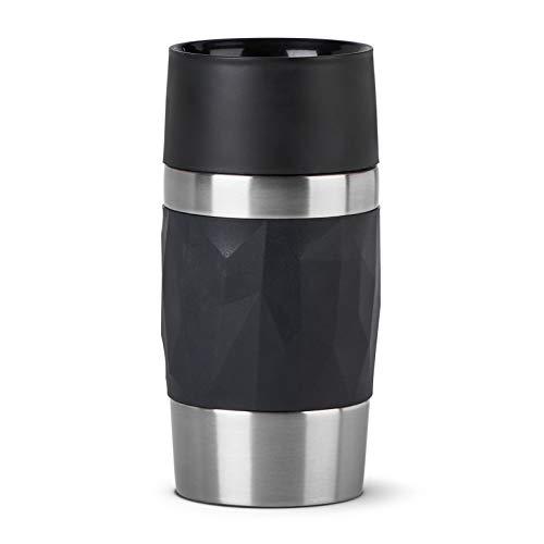 Emsa N21601 Travel Mug Compact - Termo de acero inoxidable (0,3 l, 4 h, caliente, 8 h, sin BPA, 100% hermético, a prueba de fugas, apto para lavavajillas, apertura de 360°, color negro