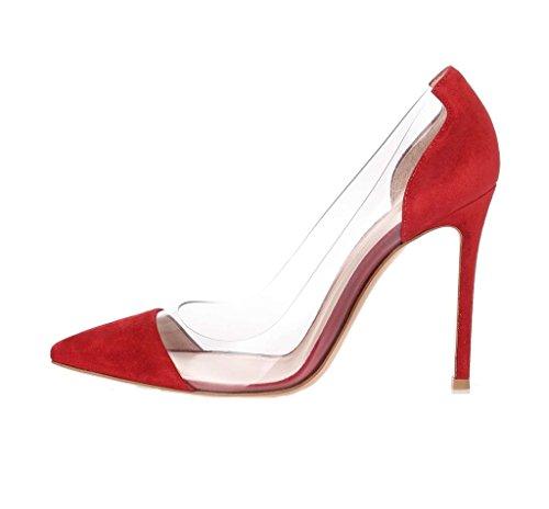 Edefs Ladies 120mm Tacco Alto Pompe Tacchi A Spillo Tacco Alto Scarpe Trasparenti Taglia Rossa