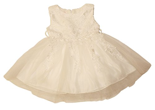 Think Pink Bows Little Girls' Victoria Flower Dress, Off White - 2T (Dress Girls Crocheted)