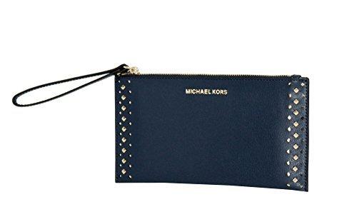 MICHAEL Michael Kors Women's Jet Set Travel Leather Zip Clutch (Navy)