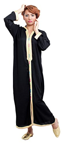 Moroccan Caftans Women Hand Made Breathable Hooded Caftan Fits Small To Medium Embroidered Black Hooded Caftan
