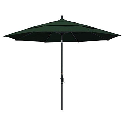 California Umbrella 11' Round Aluminum Market Umbrella, Crank Lift, Collar Tilt, Black Pole, Pacifica Hunter Green