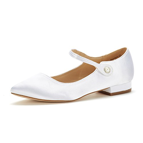 DREAM PAIRS Women's Sole_Silky White Fashion Low Stacked Ankle Straps Flats Shoes Size 5 M US