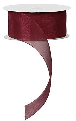 "1.5"" Sheer Organza Ribbon, No Wire - 25 Yards (Burgundy)"