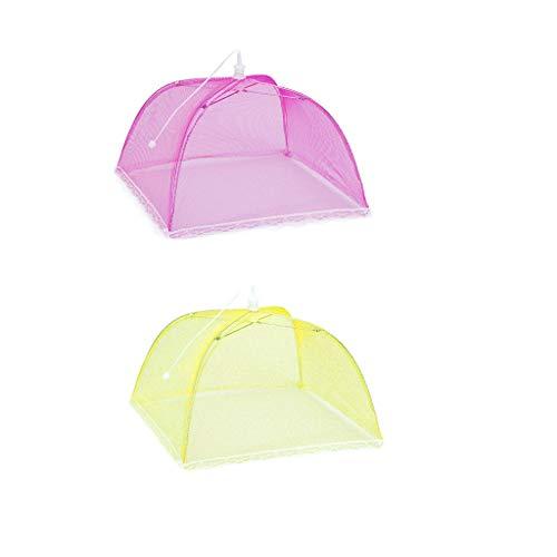 QBQCBB 2 Large Pop-Up Mesh Screen Protect Food Cover Tent Dome Net Umbrella -