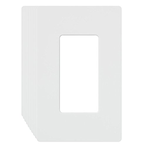 Wall Plates, 1-gang decora/gfci device wallplate Electrical Outlet Covers Standard Size, Screwless Receptacle Faceplates MICMI J58 (1 Gang Decorator, White 10pack) Screwless Faceplate