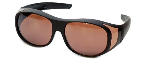 Calabria Fitover Sunglasses 7659 Wear-Over Eyewear with Case Large-Size (Matte Black Frame & Copper -