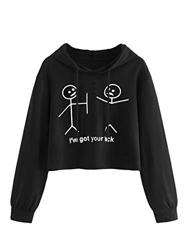MAKEMECHIC Women's Cartoon Print Crop Top T-Shirt Long Sleeve Pullover Hoodies Black XS