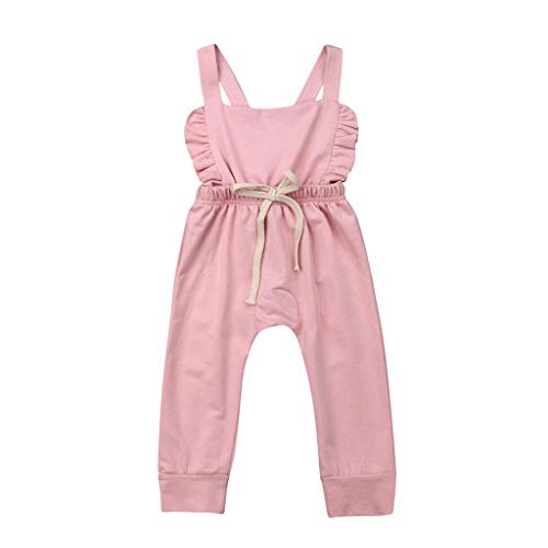 Newborn Kids Romper Jumpsuit,Crytech Soft Cotton Sleeveless Backless Ruffle Bib Pants Overalls Bodysuit Outfit Drawstring Stripe Sunsuit Clothes for Infant Toddler Baby Boy Girl (6-12 Months, Pink)