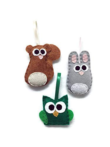 Woodland Animal Christmas Ornament Set of 3: Handmade Squirrel, Bunny Rabbit, Owl