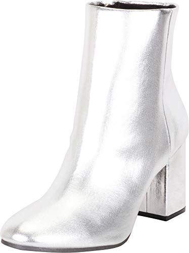 - Cambridge Select Women's Classic Chunky Block Heel Ankle Bootie (6 B(M) US, Silver PU)