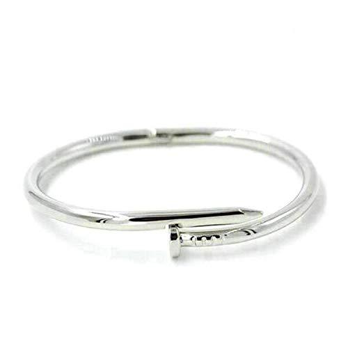 Men Women Open Cuff Bangles Classic Stainless Steel Love Couple Bracelets Jewelry Silver 18.5 cm