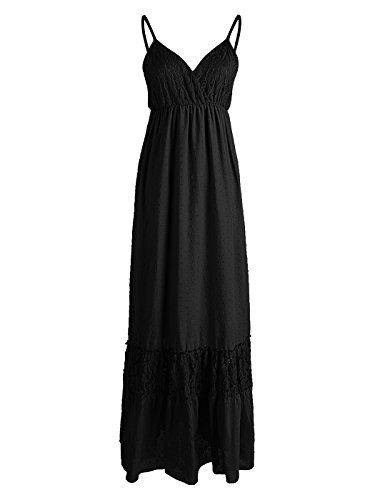 Anna-Kaci Womens Adjustable Spaghetti Strap Sleeveless Long Lace Boho Dress, Black, Large