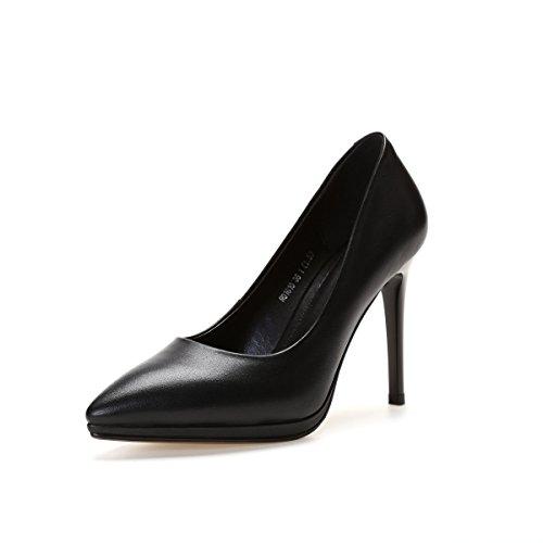 Damer Klassiske Stilethæl Høje Hæle Business Dame Læder Smarte Spidse Sko Sko Arbejde Brude Pumps Sortb (6cm) pfqWrl