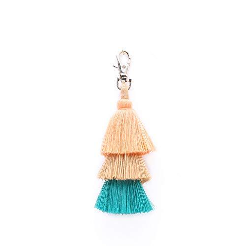 ( Orcbee  _Fashion Women Layered Colorful Boho Pom Pom Tassel Bag Charm Key Chain Gift (Orange))