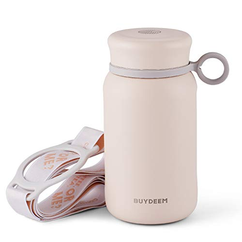 Born for Girls & Ladies, Buydeem CD13 Thermos Water Bottle Tumbler Flask, Cute Unique Design, Wide Mouth with Screw-on Lid, Stainless Steel Coffee Tea Travel Mug, Millennial Pink