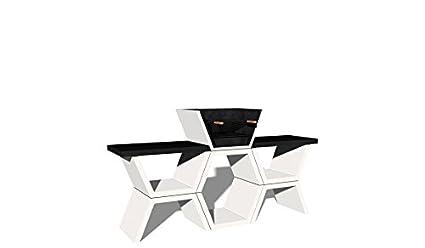 Barbacoa de Obra máximo diseño y calidad,De hormigón bruto hidrófugo blanco y negro