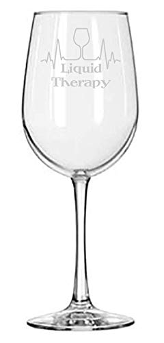 Liquid Therapy - Gift for Nurse or Doctor - 16 oz Wine Glass - Funny Birthday Gifts - Medical School - EKG Heartbeat - Medicine - Med Student - Graduation