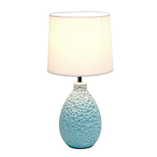 Simple Designs LT2003-BLU Texturized Stucco Ceramic Oval Table Lamp, Blue
