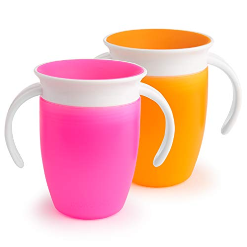 (Munchkin Miracle 360 Trainer Cup, Pink/Orange, 7 Ounce, 2 Count)