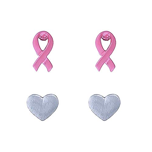 Rosemarie Collections Women's Breast Cancer Pink Ribbon and Heart Hypoallergenic Post Stud Earrings Gift Set of 2 (Awareness Ribbon Set Earrings)