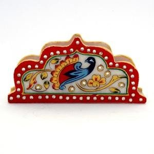 RM Home Decor Handicrafts Gift Meenakari Work Mayur Design Marble Paper Napkin Holder