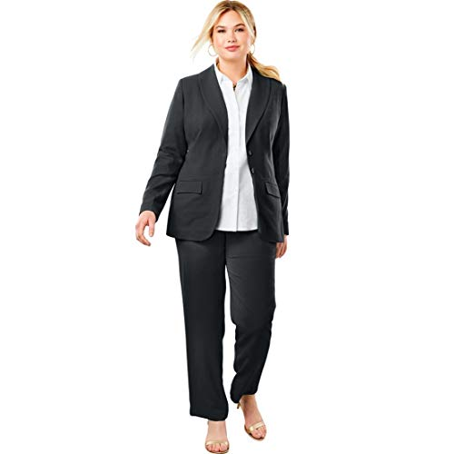 Single Suit Pant Breasted (Jessica London Women's Plus Size Single Breasted Pant Suit - Black, 16 W)
