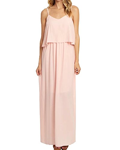 LEANI Women's Chiffon V Neck Spaghetti Strap Ruffle Empire Waist Long Maxi Dress Bridesmaid Party Dress