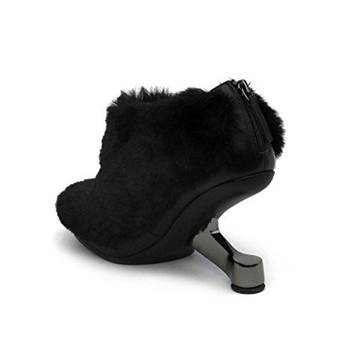 forma forma black donne tacco tacco tacco QPYC alti di di peluche in a Tacchi con stivali bassi Stivali delle tacco forma metallo neri a Stivali tacco femminile di qq0WzStr