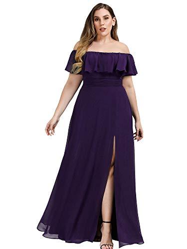 Women's Wedding Guest Dresses Off The Shoulder Maxi Dresses Plus Size Purple US18