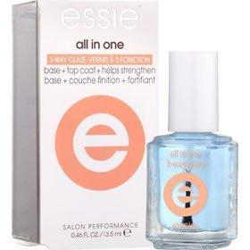 Essie Vernis à Ongles «tout en un» 3voies Glaze. Base + Top Coat + Vernis durcisseur
