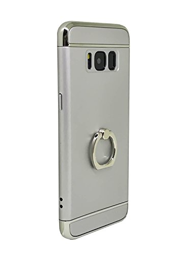 Samsung S8 Case,All-Round Protection With Free Rotating Metal Ring Holder (Silver Flat Panel Frame)
