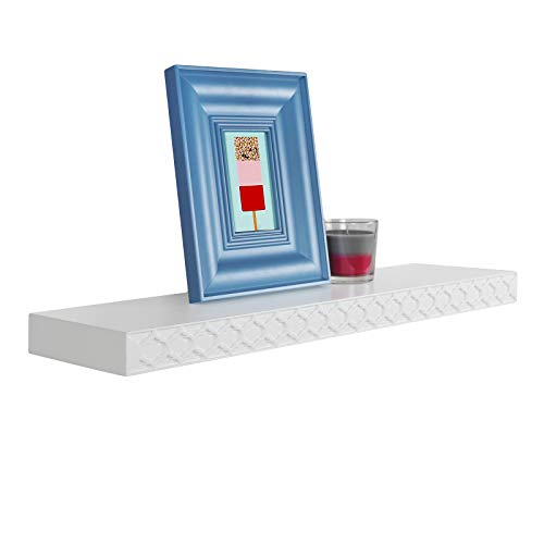 WELLAND 24 Inch White Floating Shelves, Wall Shelf with New Carving Pattern Design, Spray Painted Finish, Easy to Install