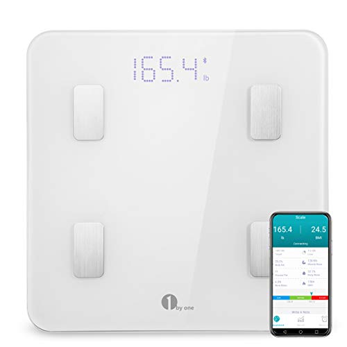 Body Fat Weight Scale - 1byone Bluetooth Body Fat Scale with IOS and Android App Smart Wireless Digital Bathroom Scale for Body weight, Body Fat, Water, Muscle Mass, BMI, BMR, Bone Mass and Visceral Fat, White