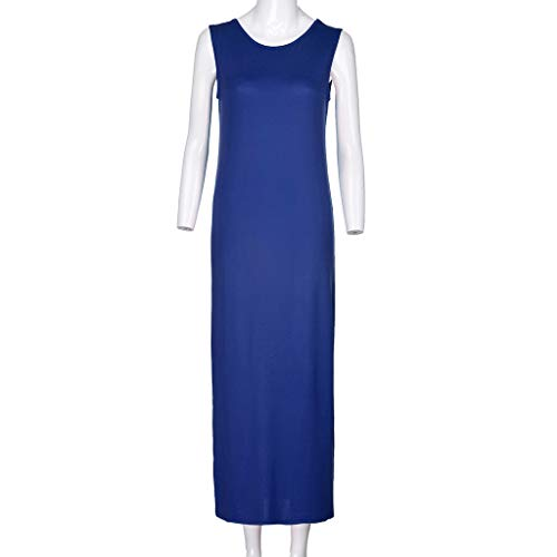 Twinsmall Maternity Dress, Women's Ruched Boho Sleeveless Maternity Pregnant Dress (M, Blue) by Twinsmall (Image #2)