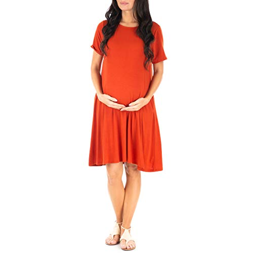Mother Bee Maternity Women's Maternity T Shirt Dress with Pockets Copper