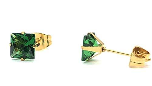 HYPOALLERGENIC Square Shape Fashion Earring For Women Men and Girls Glitter Rainbow Minimalist Unisex Studs Push Back Stainless Steel Mens Womens Gold Stud - Emerald Green (Emerald Steel)