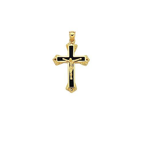 Pendentif croix du Christ en or 14 carats et Onyx-JewelryWeb