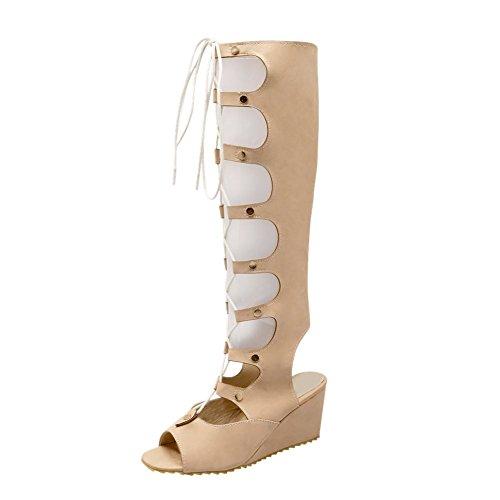 Carolbar Womens Lace-up Bandage Cosplay Söt Mode Peep-toe Gladiator Stil Kilklack Klänning Höga Sommar Stövlar Aprikos