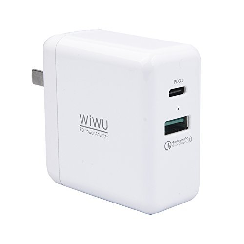 USB C PD Charger Power Plug,MeiLiio 45W Fast Charger 3.0 Dual Ports Travel Adapter,USB PD Type-C Wall Charger for Samsung Galaxy S9 Plus,iPhone X,Macbook Pro,Nintendo Switch and Other Device by MeiLiio
