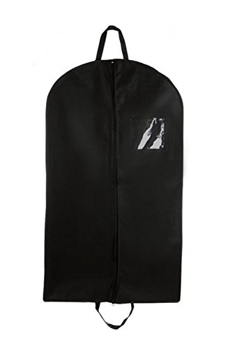 Black Suit & Dress Travel & Storage Garment Bag By Bags For Less – Durable, Rip Resistant, Repellent, Breathable Material – 24''x 40'' Size – Practical Clear Square ID Window Pocket