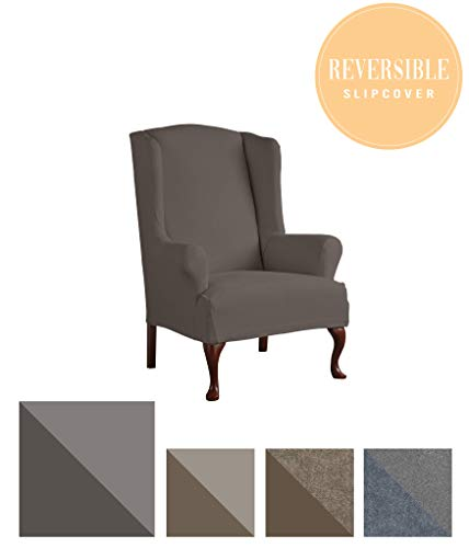 Perfect Fit Serta 1 Piece Reversible Stretch Suede T Wingback Chair Slipcover, Graphite/Gray,