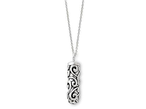 (Sentimental Expressions Sterling Silver Antiqued Cylinder Remembrance Ash Holder 18 Inch Necklace)