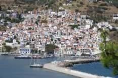 Skopelos Town–30x 20en impresión de Lienzo–enmarcado y listo para colgar
