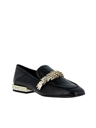 Ash Women's EDGY03 Black Leather Loafers s2AbJQ