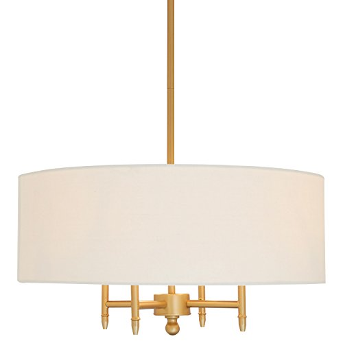 """Stone & Beam Classic 4-Arm Gold Chandelier, 42""""H, White"""
